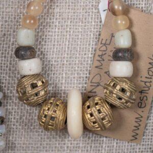 Bone & Openwork Brass & Pale Horn Bracelet