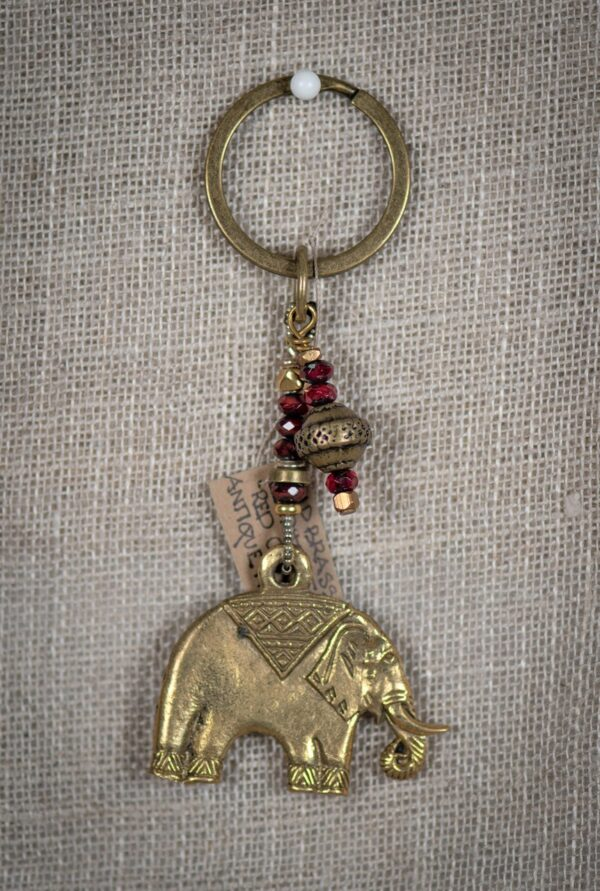 Brass Elephant and red Glass keyring