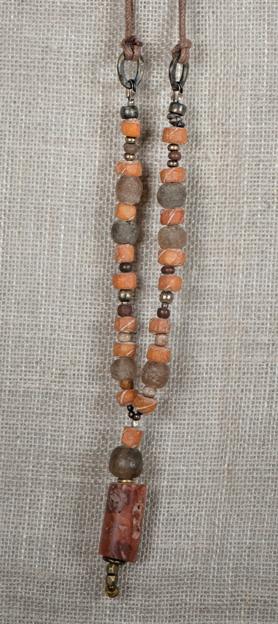 african bauxite and camel bone necklace