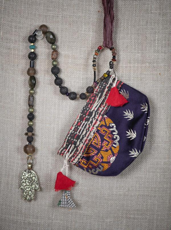 Om Hamsa & Black Beads
